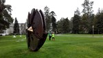 """Disco"" by Arnaldo Pomodoro greets finishers"
