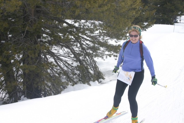 A happy Brenda Giese skates in to the finish on the Blue course.