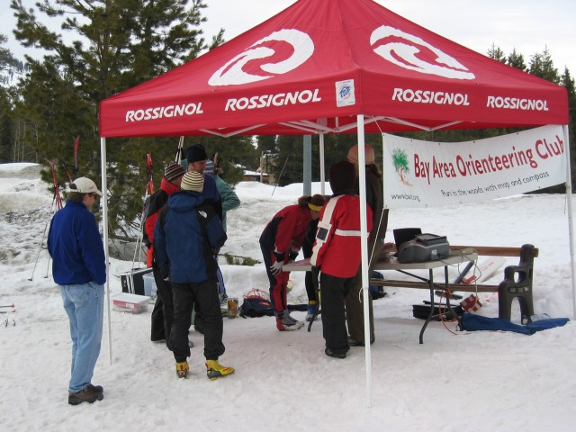 Registration and E-punch tent at Bear Valley, 2005