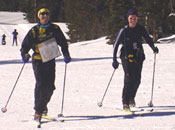Phil Lovalenti and Laurie Paul were the only team to do the blue course at the 2004 Royal Gorge Ski-O, Photo: Tony Pinkham)