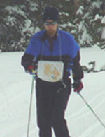 Bjorn Widerstrom finishing the green course at the 2004 Bear Valley Ski-O (Photo: Tony Pinkham)