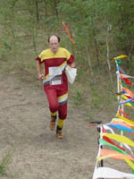 Dan Green finishing at Dalmur on Day 2 of the 2002 APOC event in Alberta, Canada (Photo: Tony Pinkham)