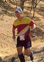 Kelly Wells hoofs it at the 5th annual Golden Goat, held at Shell Ridge, October 2000 (Photo: Ian Tidswell)